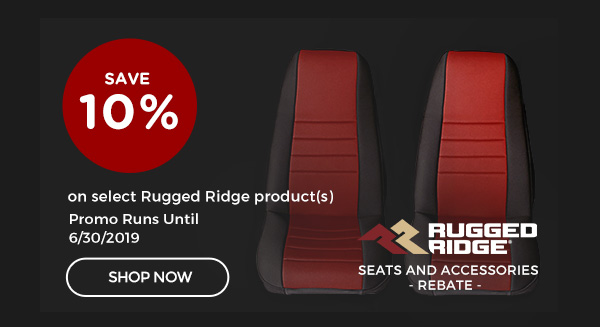 Rugged Ridge Seats & Accessories Rebate | 10% Cash Back on Qualifying Rugged Ridge® Product(s) Over $150 | Ends 06/30/19