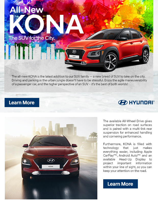 All-New KONA The SUV for the City.