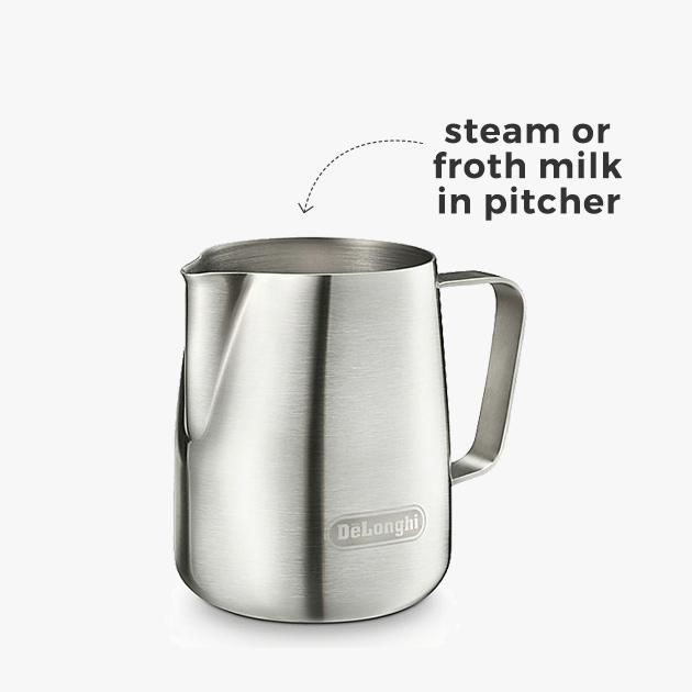 steam or froth milk in pitcher