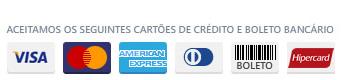 Aceitamos os seguintes cartões de crédito e boleto bancário: Visa, Master Card, American Express, Dinners, Itaú e boleto