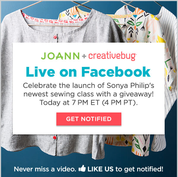 Learn With CreativeBug. Facebook Live: New Sewing Class Launch plus Giveaway with special guest Sonya Philip. 2 Months Free. TRY NOW.