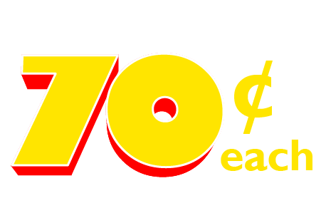 FINAL DAY! In-store only. 70 Cents Each fabric quarters.