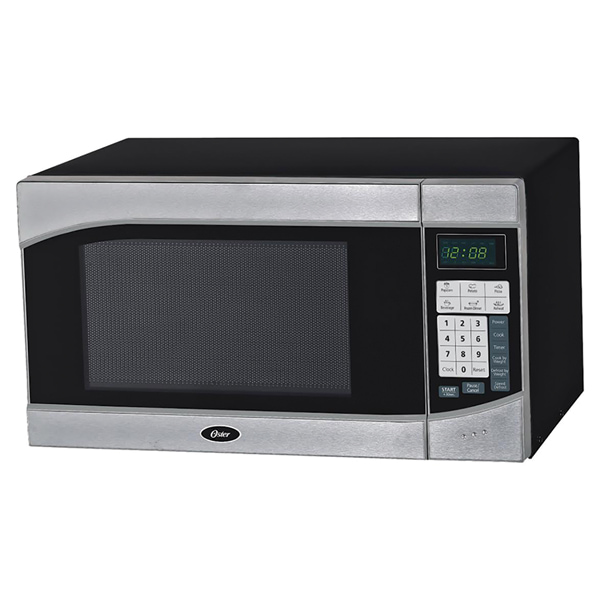 Oster 900W countertop microwave oven, 0.9 cu. ft. silver/black