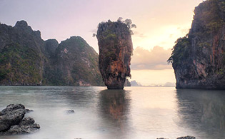 James Bond island in Thailand at sunset