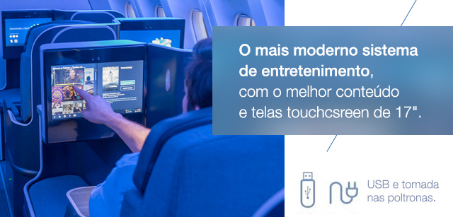 O mais moderno sistema de entretenimento do mundo, com o melhor conteúdo e telas touchscreen.
