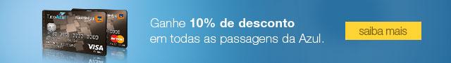 Desconto de 10% em todas as passagens da Azul