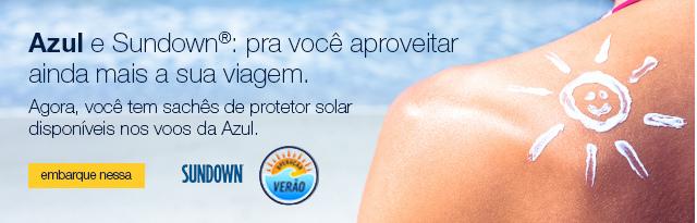 Azul e Sundown: pra você aproveitar ainda mais a sua viagem. Agora, você tem sachês de protetor solar disponíveis nos voos da Azul.