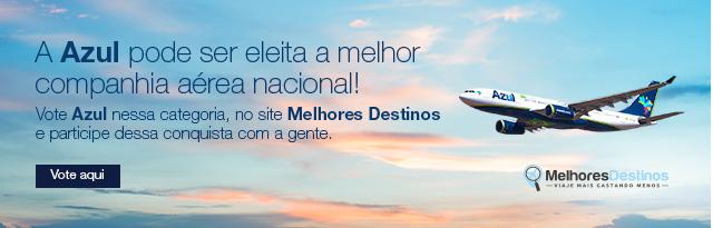 A Azul pode ser eleita a melhor companhia aérea nacional! Vote Azul nessa categoria, no site Melhores Destinos e participe dessa conquista com a gente.