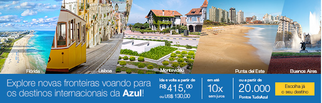 Explore novas fronteiras voando para os destinos internacionais da Azul!