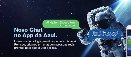 Novo Chat no App da Azul.