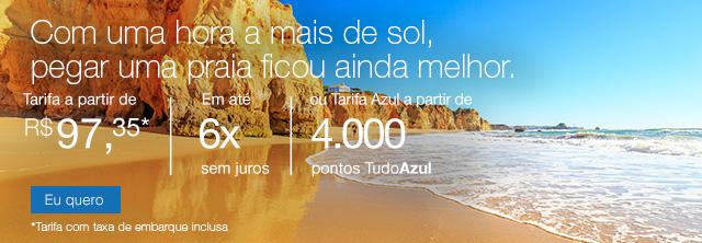Com uma hora a mais de sol,pegar uma praia ficou ainda melhor. Tarifa a partir de R$ 97,35*, Em até 6x Sem juros, Ou a a partir de 4.000 pontos TudoAzul. *Tarifa com taxa de embarque inclusa.