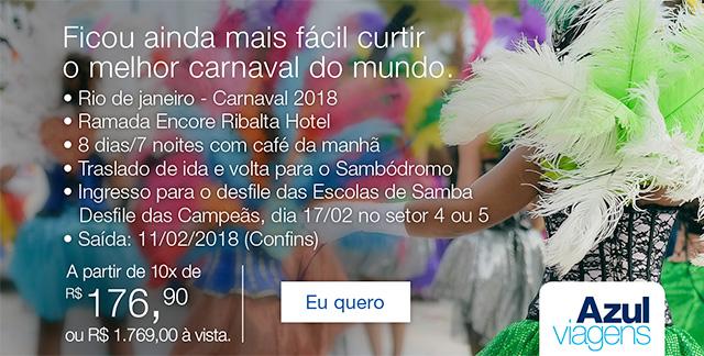 Ficou ainda mais fácil curtir o melhor carnaval do mundo. .Rio de Janeiro  - Carnaval 2018 .Ramada Encore Ribalta Hotel .8 dias/7 noites com o café da manhã .Translado de ida e volta para o sambódromo . Ingresso para o desfile das Escolas de Samba desfile das Campeãs, dia 17/02 no setor 4 ou 5 . Saida: 11/02/2018(Confins)  A partir de 10x de R$ 179,90 ou R$ 1.769,00 à vista. | Eu quero.