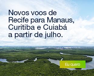 Deixamos o Norte do Brasil ainda mais #LáEmCima. Novos voos de Recife para Manaus, Curitiba e Cuiabá a partir de julho.