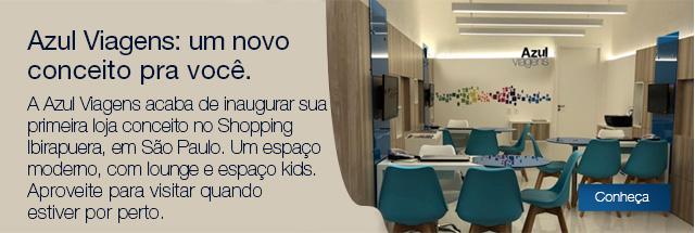 Azul Viagens: um novo conceito pra você. A Azul Viagens acaba de inaugurar sua primeira loja conceito no Shopping Ibirapuera, em São Paulo. Um espaço moderno, com lounge e espaço kids. Aproveite para visitar quando estiver por perto.