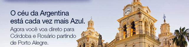 O céu da Argentina está cada vez mais Azul. Agora você voa para Córdoba e Rosário partindo de Porto Alegre. Eu quero. Porto Alegre - Rosário (terça, quinta e sábado). Data de início: 03/07/2018 Porto Alegre - Córdoba (segunda, quarta, sexta e domingo). Data de início: 01/07/2018