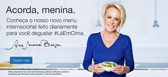 Acorda, menina. Conheça o nosso novo menu internacional feito diariamente para você degustar #LáEmCima. Quero voar.