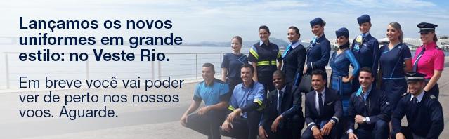 Lançamos os novos uniformes em grande estilo: no Veste Rio. Em breve você vai poder ver de perto nos nossos voos. Aguarde.