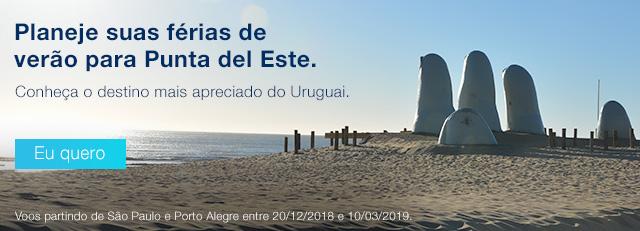 Planeje suas férias de verão para Punta del Este. Conheça o destino mais apreciado do Uruguai. Eu quero. Voos partindo de São Paulo e Porto Alegreentre20/12/2018e10/03/2019.