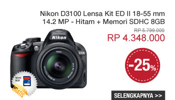 Nikon D3100 Lensa Kit ED II 18-55 mm - 14.2 MP - Hitam + Memori SDHC 8GB