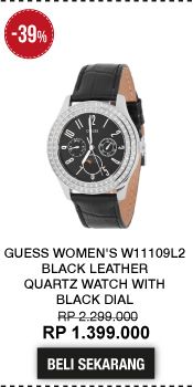 Guess Women's W11109L2 Black Leather Quartz Watch with Black Dial