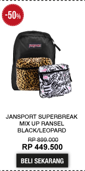 JanSport Superbreak Mix Up Ransel - Black/Leopard