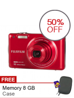 Fujifilm Finepix JX660 - 16MP - 5x Optical Zoom  - Merah + Gratis SD Card 8GB + Case