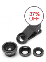 3-in-1 Clip Lens for Mobile Phone and Tablets: Macro, Fish-eye, Wide (Black)
