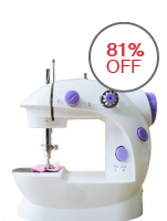 2-Speed Mini Electric Sewing Machine with Free Accessories (White/Lavender)