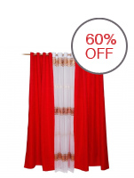 A-KING Classy Dyed Curtains with Sheer Curtain Ivory Set (Red)