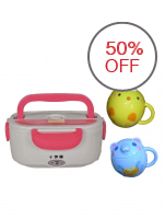 Electric Lunch Box (Pink) with Mouse (Blue) and Chick Cups (Yellow) with Covers