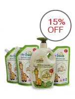 Tiny Buds Baby Bottle and Utensil Wash 600ml with 3-Piece 400ml Refill Pack