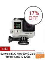 GoPro Hero4 12MP Action Camera Silver Edition with FREE Samsung EVO  MicroSDHC Card 48MB/s Class 10 32GB MB-MP32D