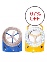 Rechargeable LED Light with Fan, Set of 2 (Blue/Yellow)