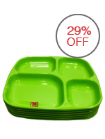 AAA Square Plate With Divider Set of 6 (Green)