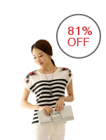 Greatnes B-3116 Short Sleeved Round Neck Stripe Printed Blouse (White)