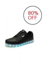 A&A SML-01 Unisex Casual Low-uppers LED colorful Shoes (Black)
