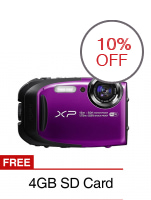 Fujifilm XP80 16.4MP 5x Optical Zoom Digital Camera (Purple) with FREE 4GB SD Card