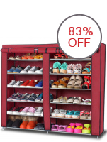 Greatnes D&D High Quality Double Capacity 6 Layer Shoe Rack Shoe Cabinet (Red)
