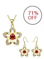 Treasure by B&D S496-A Flower Jewellery Set (Gold Plated)