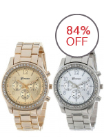 2 PACK Geneva Silver and Gold Plated Classic Round Ladies Boyfriend Watch (Silver + Gold )