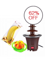 Chocolate Fondue Fountain (Brown) with Banana and Apple Cutters
