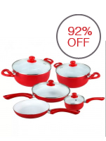 Better101 High Quality Ceramic Non-stick Pan 9-pieces Set (Red)