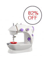 Double Thread Sewing Machine with Foot Pedal and Adapter (White/Lavender)