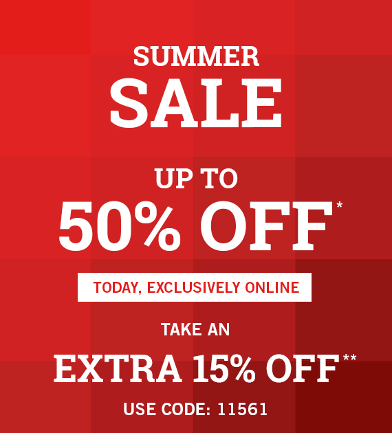 THE A&F SUMMER SALE UP TO 50% OFF*  Plus, Extra 15% Off Summer Sale  Use Code: 11561**