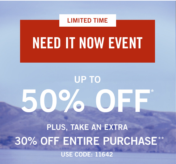 Up to 50% Off Sweatshirts, Tees, Swim, Shorts, and Shirts*, Plus 30% Off Entire Purchase** Use Code: 11642