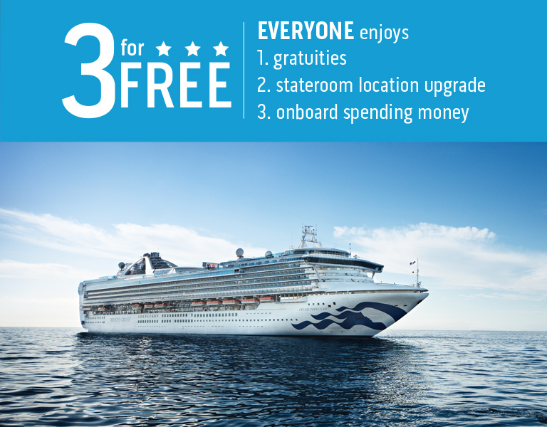 3 For FREE. Everyone enjoys: Gratuities, Stateroom location upgrad & onboard spending money