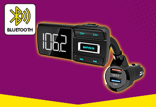 Car FM Transmitter with Bass Booster