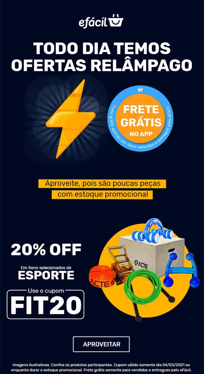 Cupom de 20% de desconto FIT20 para produtos de esporte