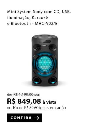PRODUTO 2 - Mini System Sony com CD, USB, iluminação, Karaokê, e Bluetooth - MHC-V02/B