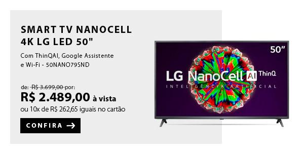 """BANNER 1 - """"Smart TV NanoCell 4K LG LED 50"""""""" com ThinQAI, Google Assistente e Wi-Fi - 50NANO79SND"""